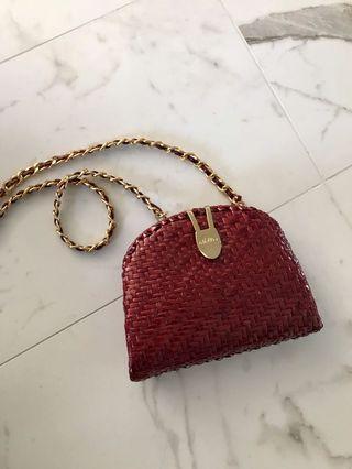 RED HALF MOON BAG