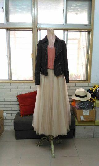 韓製三層紗超長紗裙 杏色#鼠錢囉