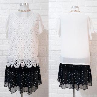 KOREAN FORMAL DRESS W/EMBROIDERED&SHEERED DETAILS