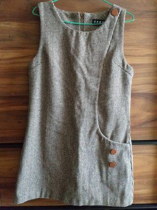 咖啡格毛呢連身裙