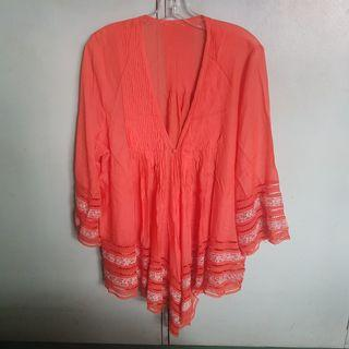 Orange Summer Swimsuit Cover up Kimono with lace