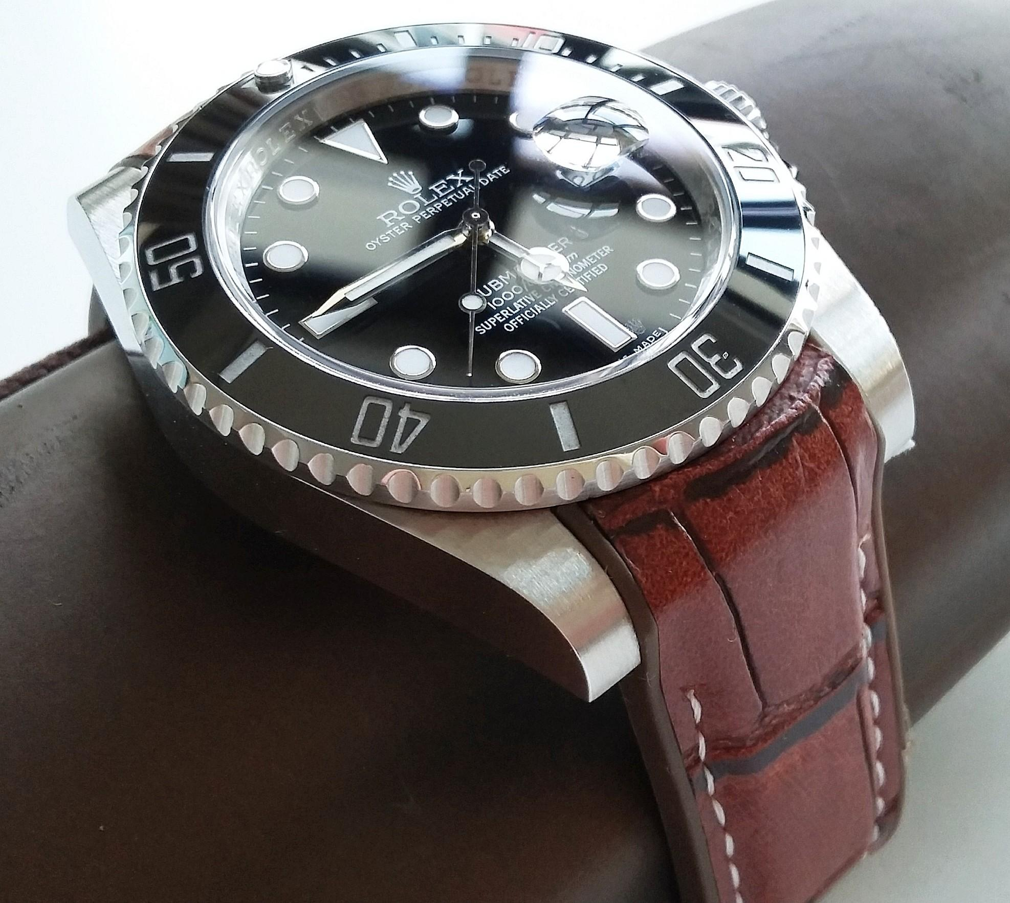 20mm BROWN LEATHER ON RUBBER STRAP WITH STEEL CLASP FOR ROLEX, OMEGA, TUDOR,  SEIKO,  (PRICE INCLUDES INSTALLATION)