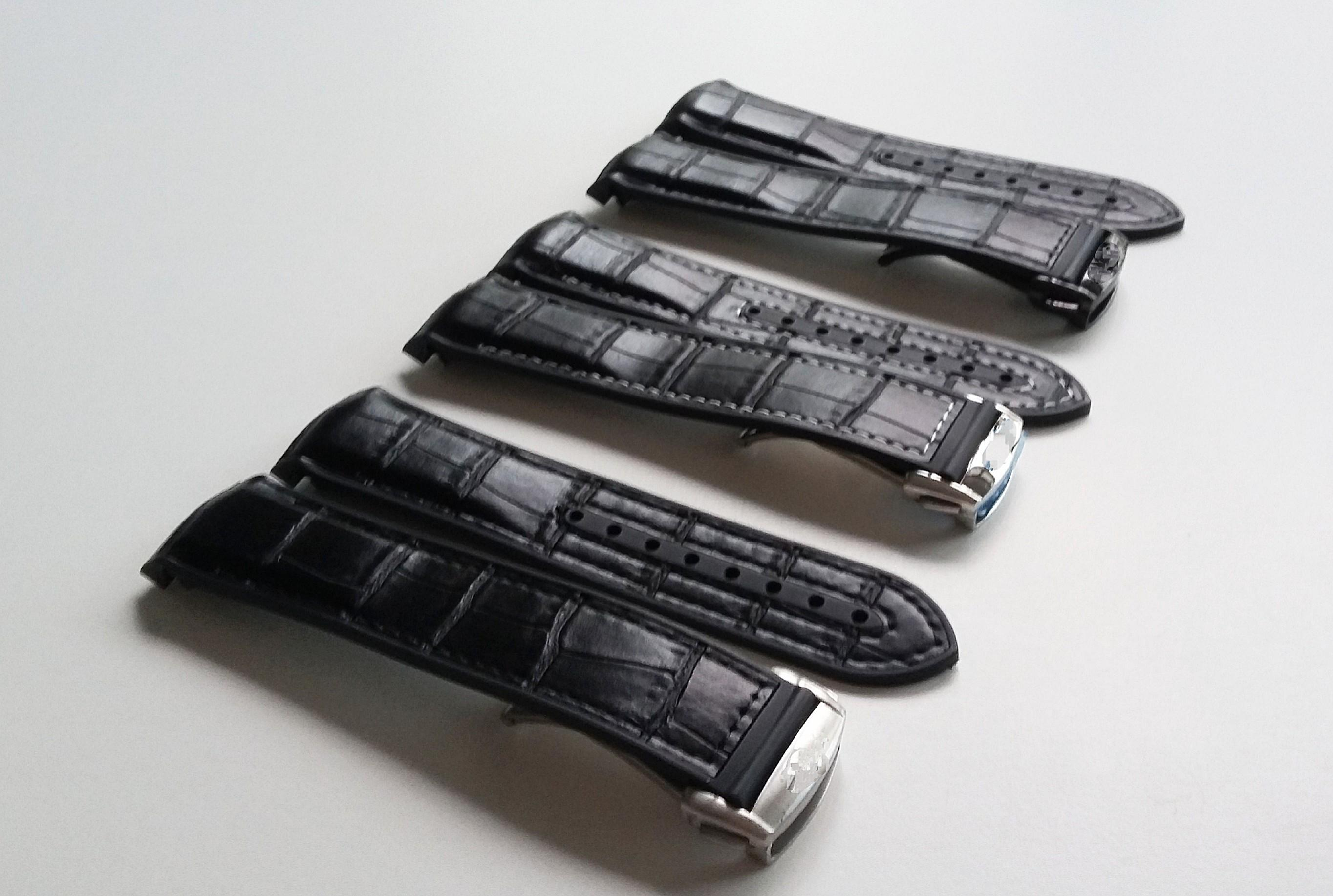 20mm CHACOAL BLACKLEATHER ON RUBBER STRAP WITH STEEL CLASP FOR ROLEX, OMEGA, SEIKO, TUDOR (PRICE INCLUDES INSTALLATION)