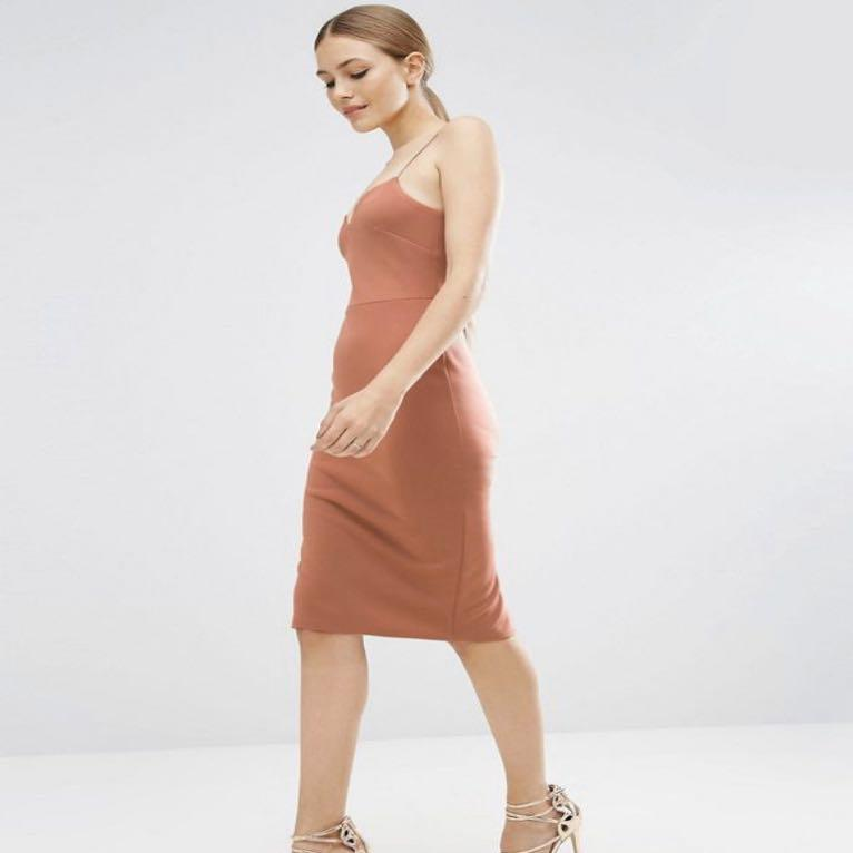 ASOS Nude Brown Spaghetti Strap Dress With Split at the Back