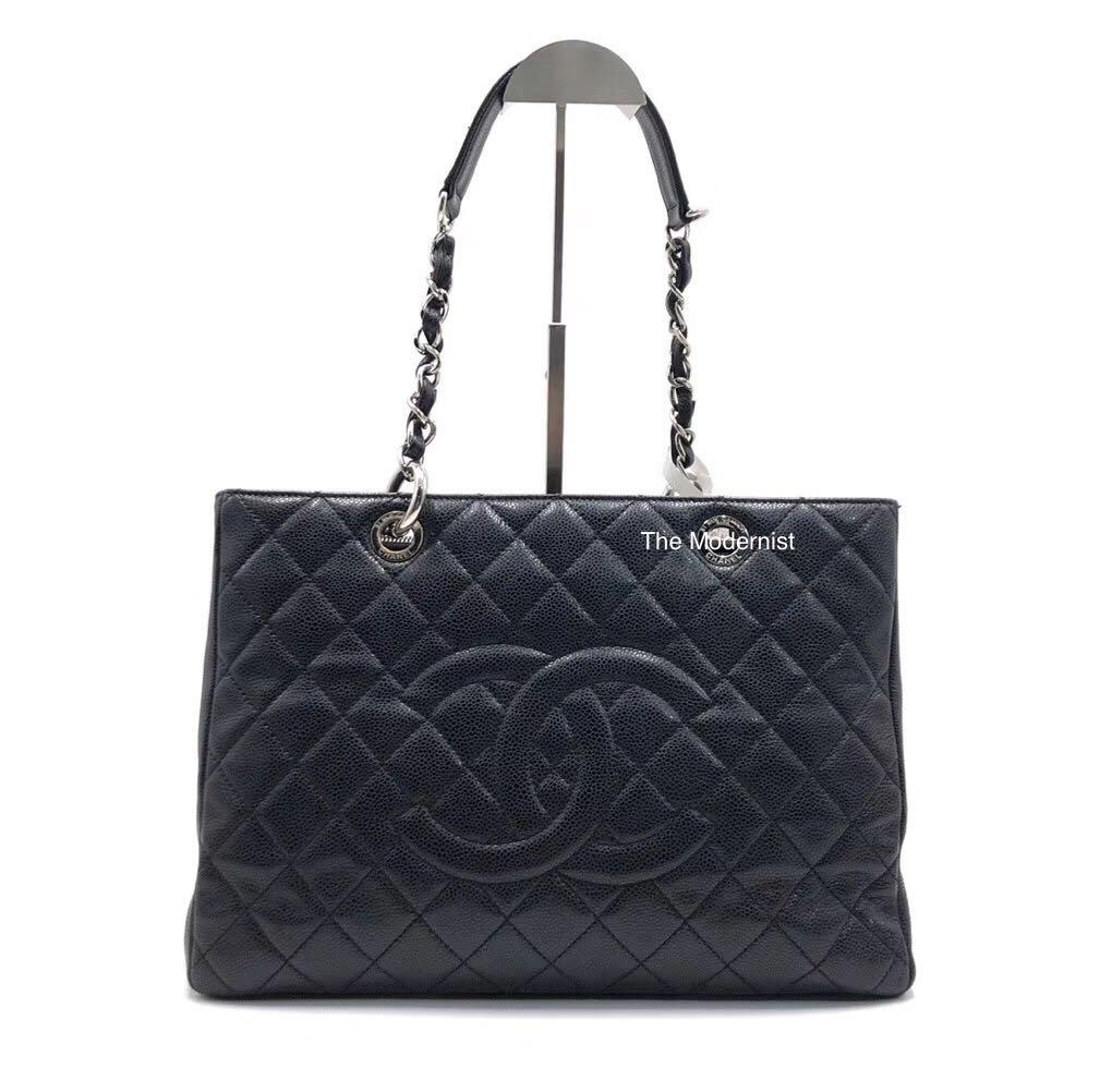 Authentic Pre-loved Chanel GST Grand Shopping Tote Black Caviar Leather Silver Hardware