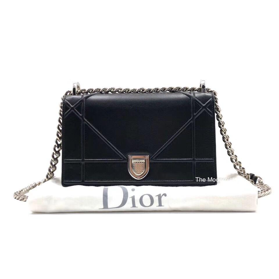 Authentic Pre-loved Christian Dior Small Diorama Black Calfskin Silver Hardware