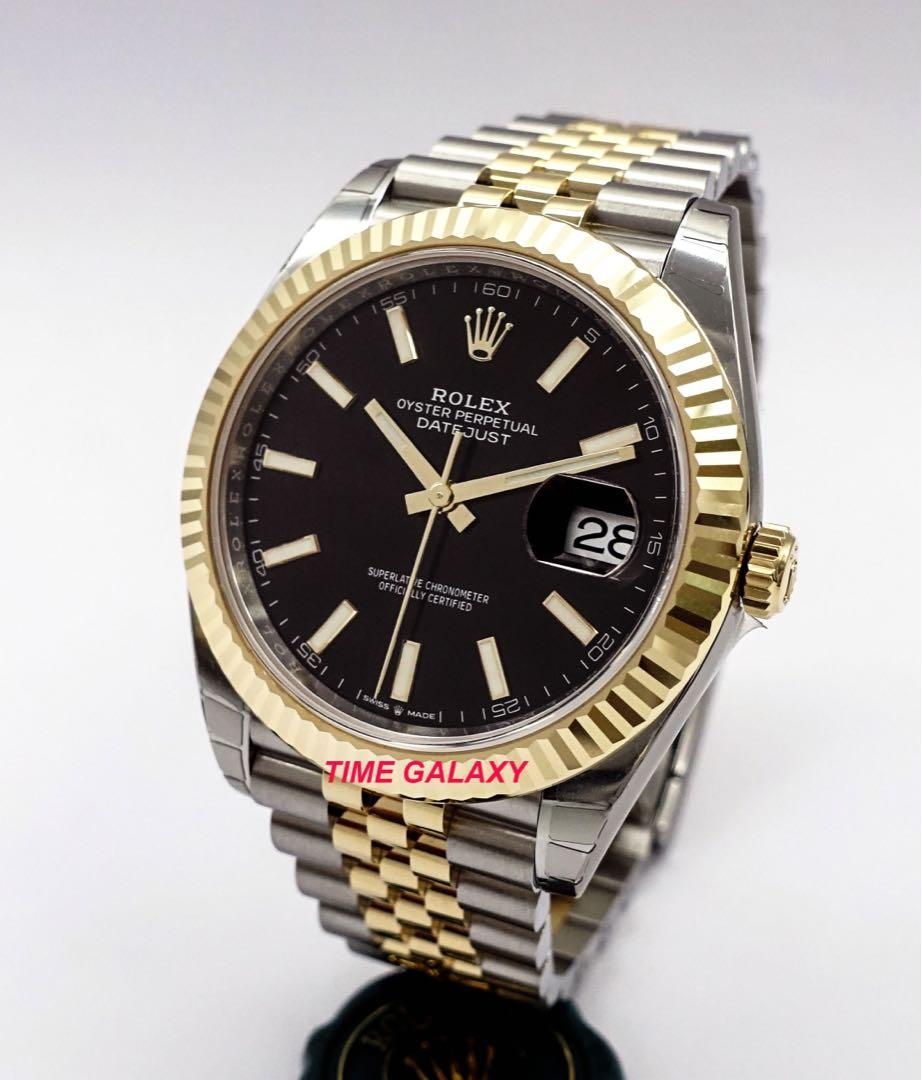 Brand New ROLEX Oyster Datejust 41mm Black Dial Automatic Steel And Yellow Gold Jubilee Bracelet Men's Watch. Swiss made. Ref model: 126333 Black Index.