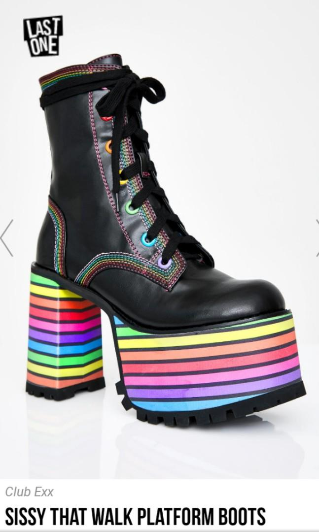 Dollskill sissy that walk brand new rainbow pride platform lace up drag disco boots size 11 or 9.5