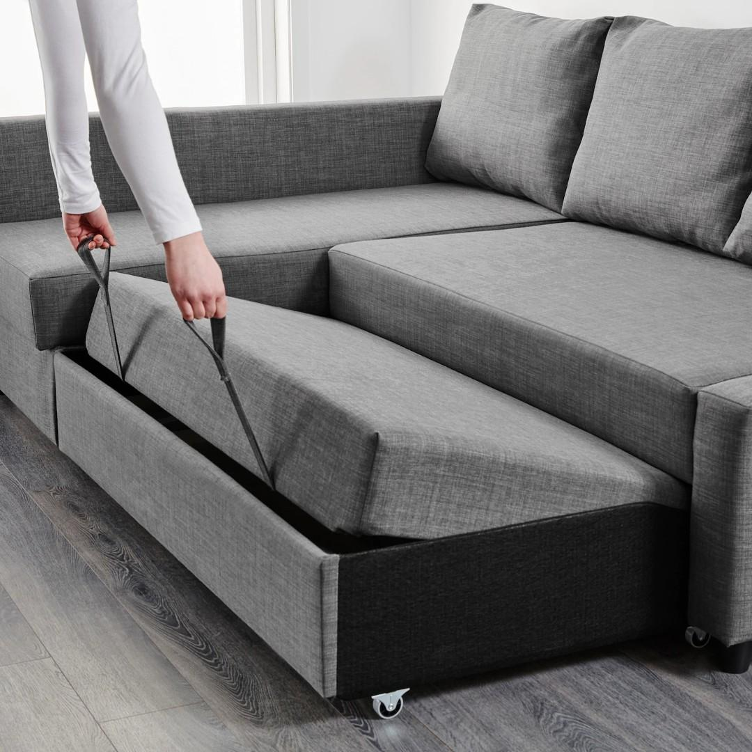 IKEA FRIHETEN CORNER SOFA - BED WITH STORAGE- DARK GREY