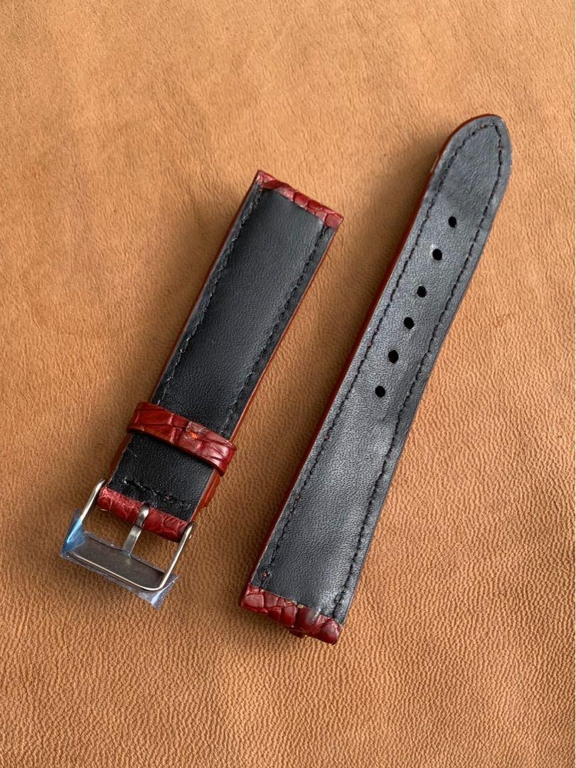 [SOLD] 20mm/18mm Rich Classy Burgundy Brown  Hornback Crocodile Alligator Watch Strap (only one piece, once sold, no more 🙏🏻 😊) 20mm@lug/18mm@buckle 20mm/18mm     Standard length: L-120mm,S-75mm
