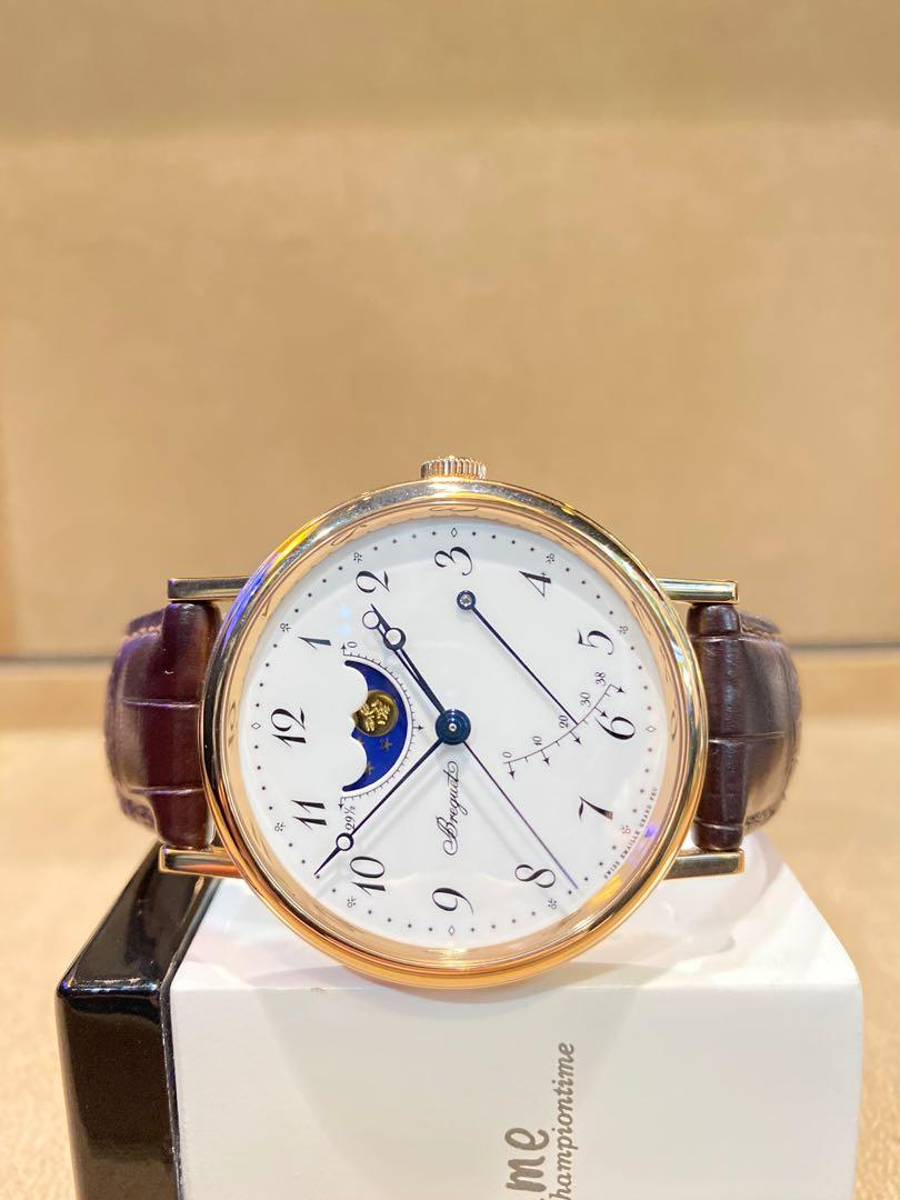 Pre Owned Breguet Classique Moon Phase 7787BR/29/9V6 White Dial Automatic Rose Gold Casing Leather