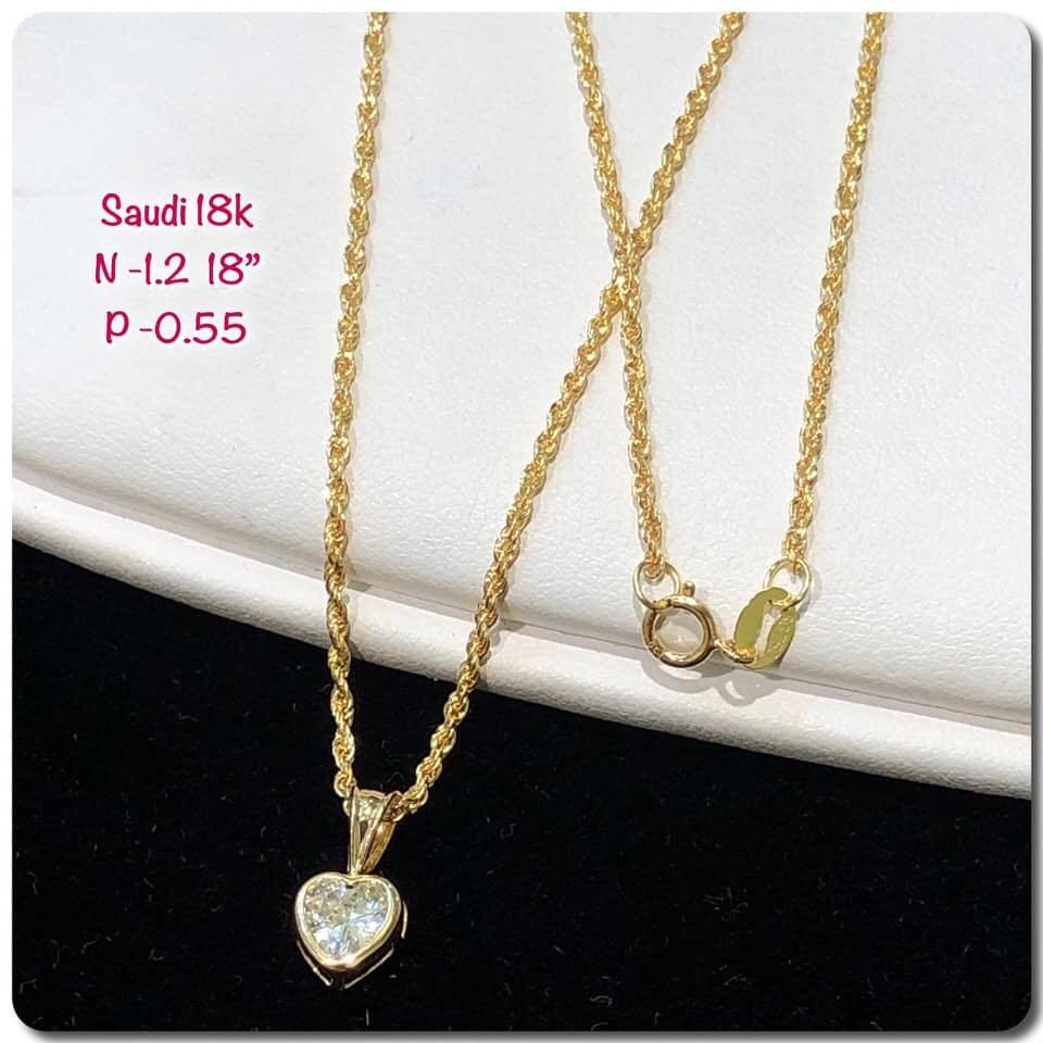 18k Saudi Gold Necklace Heart Stone Pendant Women S Fashion Jewelry Necklaces On Carousell