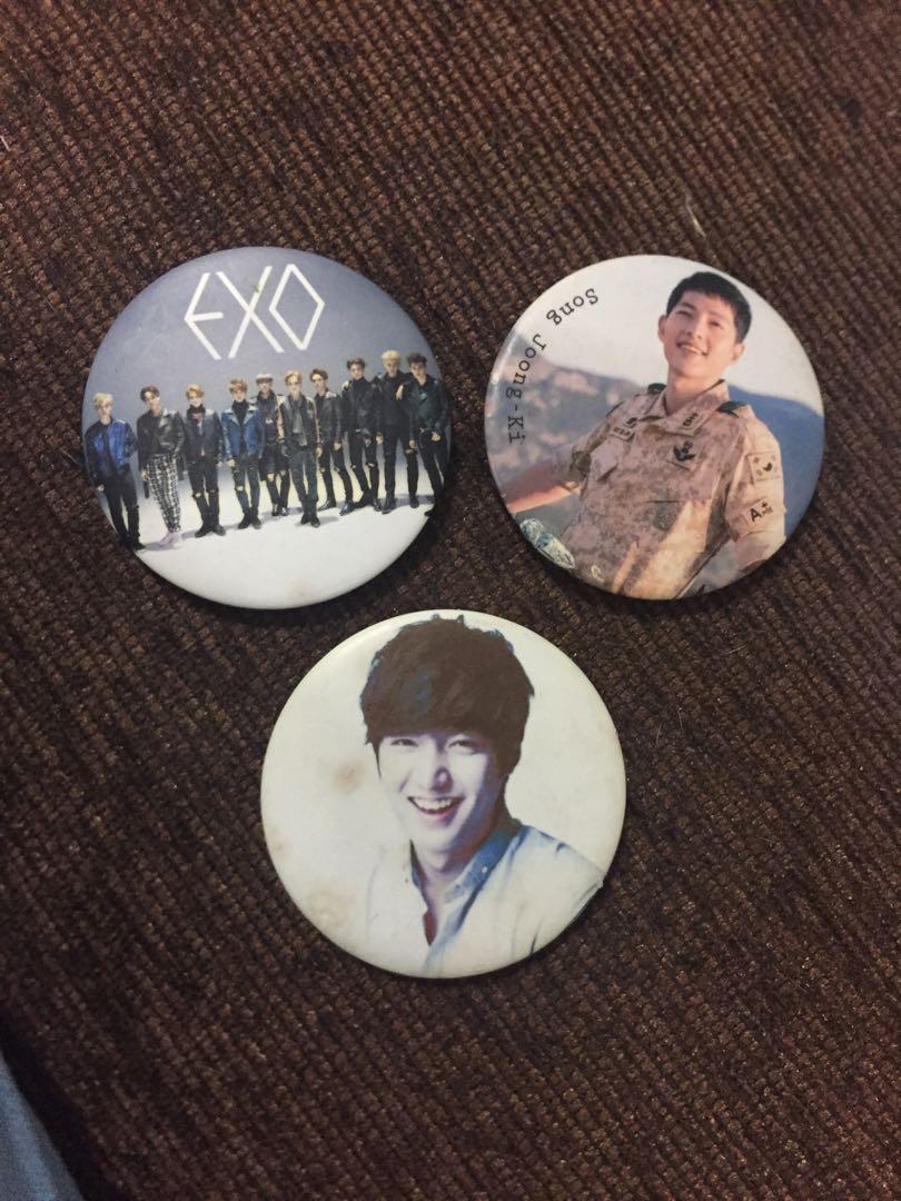 Button Badges KPOP/KDRAMA lee min ho song jong ki EXO