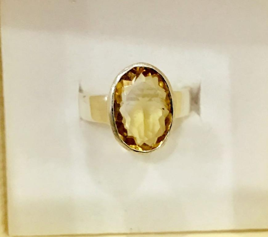 Certified Citrine gemstone 3.9cts Sterling Silver Adjustable Ring
