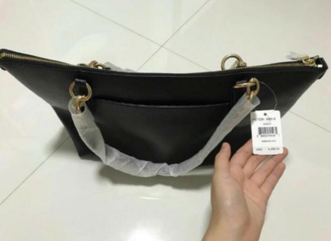 Coach Leather Handbag BN 100% Authentic Ava Tote In Crossgrain Leather F57526 (Black / Gold)