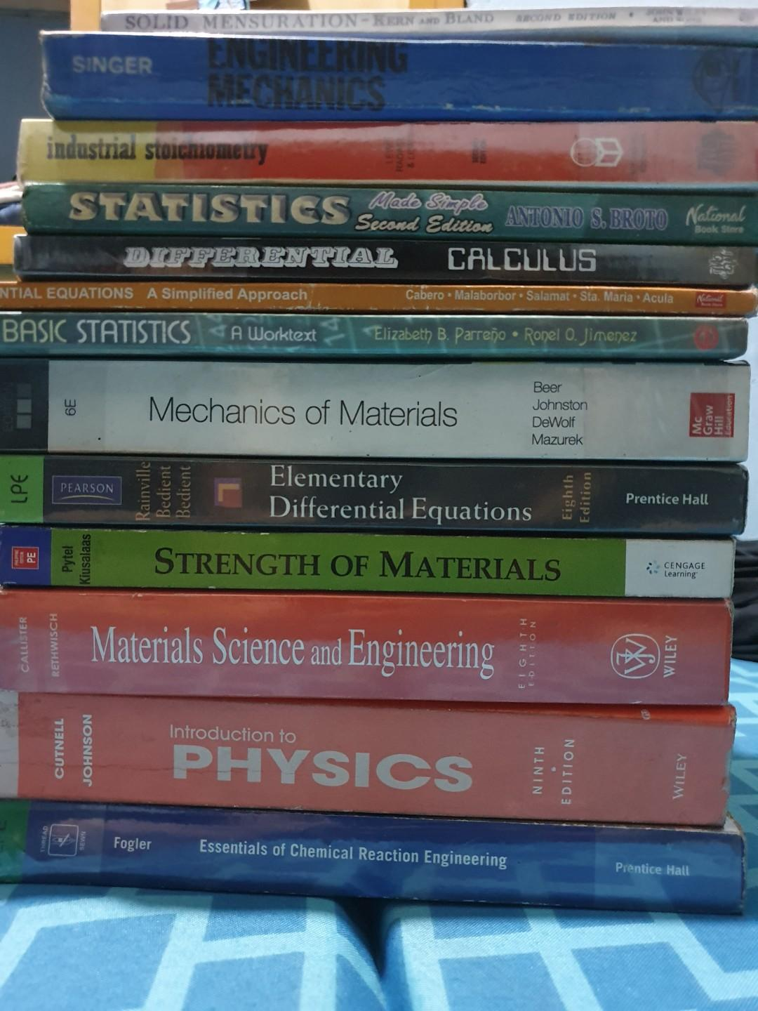 Math Engineering Physics Calculus Satistics Books order til March 5 only