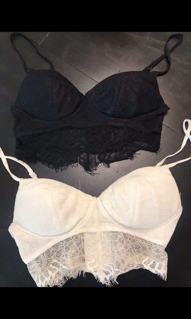 Mendocino Bralette Lace Crop Tops Black and White Size small