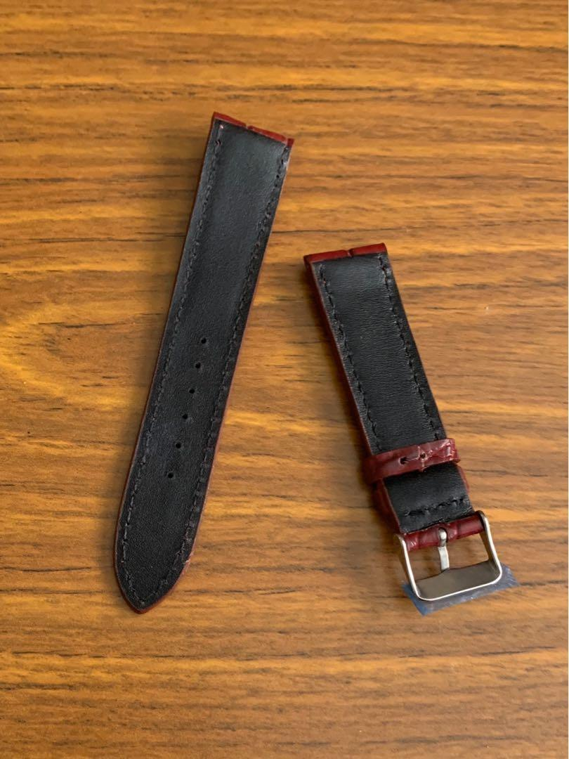 20mm/18mm Authentic Elegant Burgundy Alligator 🐊 Crocodile Watch Strap (classy grains- one piece alr sold - last piece, once sold no more🙏🏻😊) (Standard length: L-120mm, S-75mm)