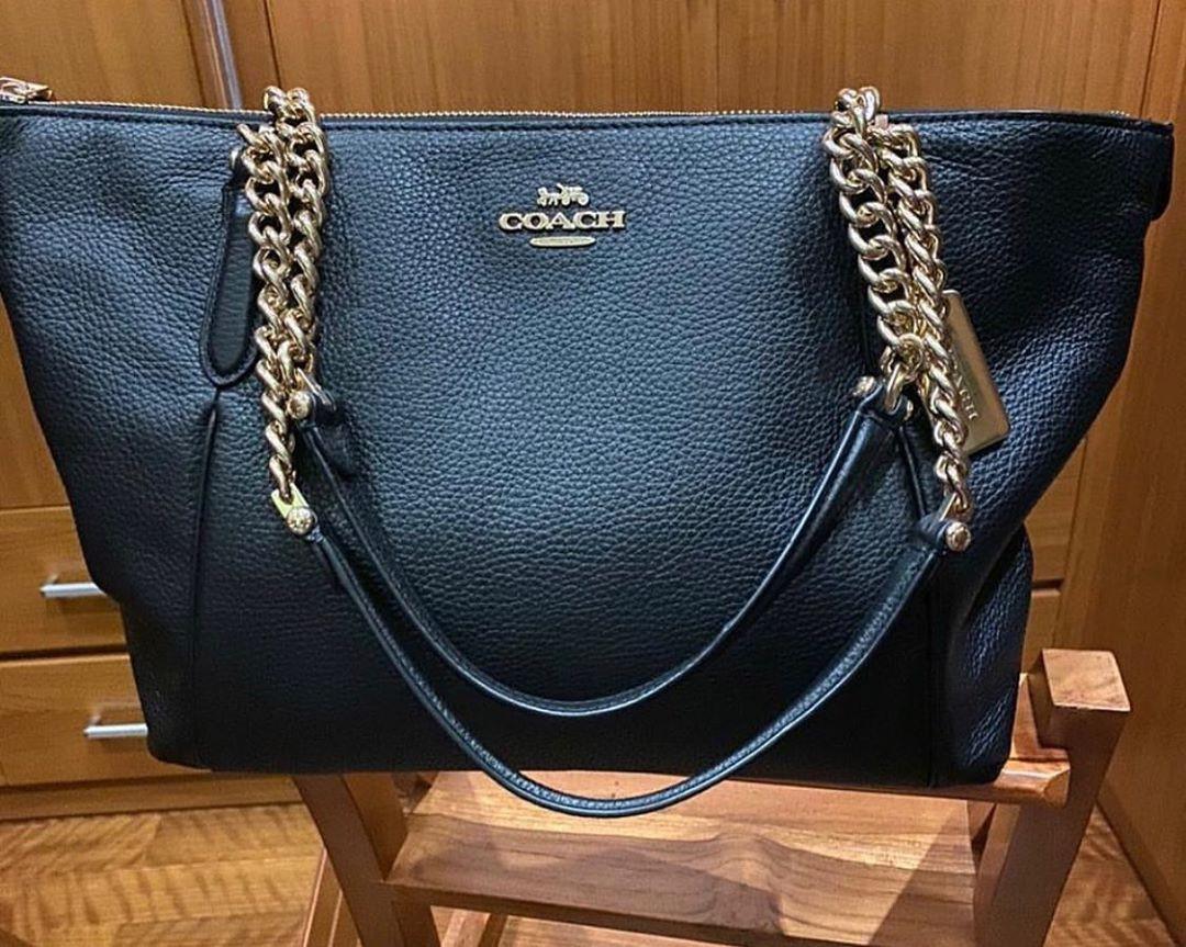 New with tag, c0ach tote ava chain black original leather fullset ya sis jamin mantul 💕