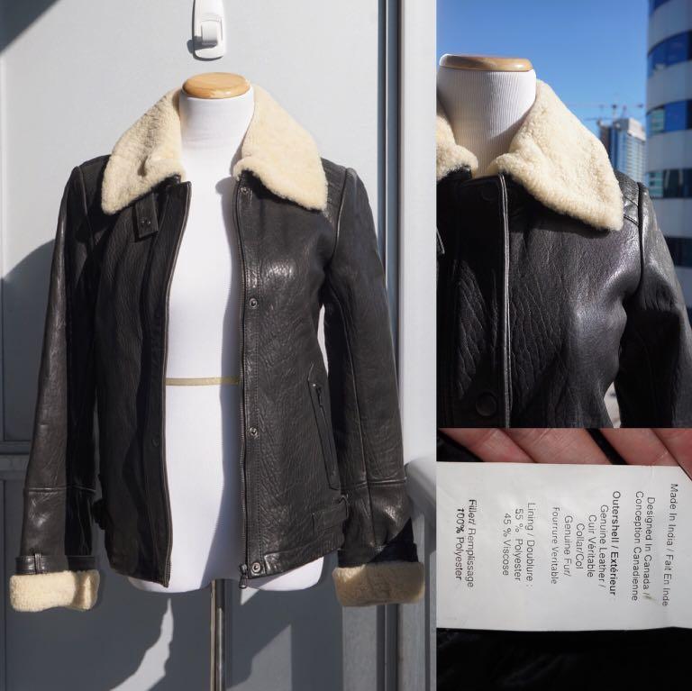 NWT Danier Icaria Leather Biker Motor Jacket Size XXS