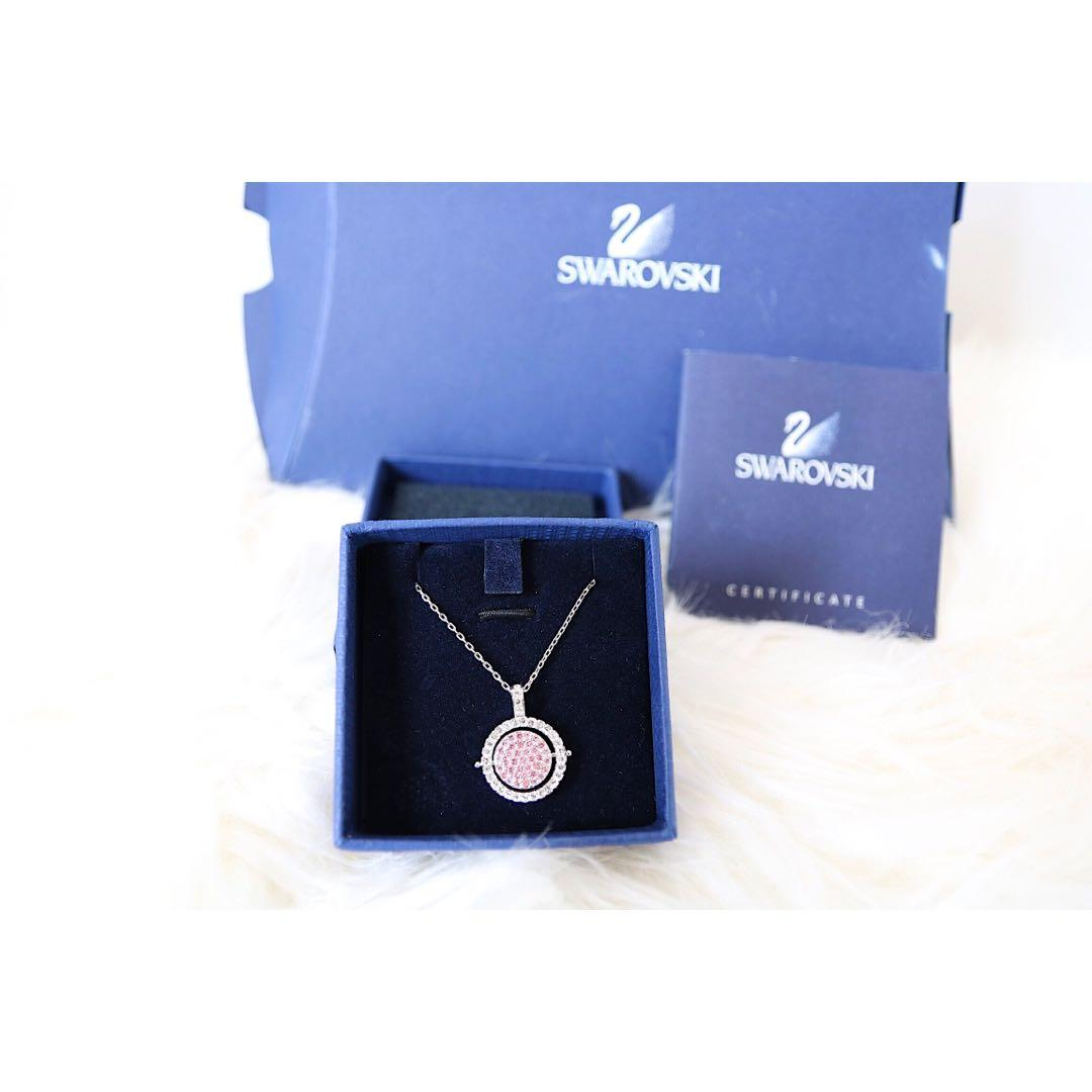Swarovski Signed Authentic Reversible Pendant Necklace - Pink / Blue.