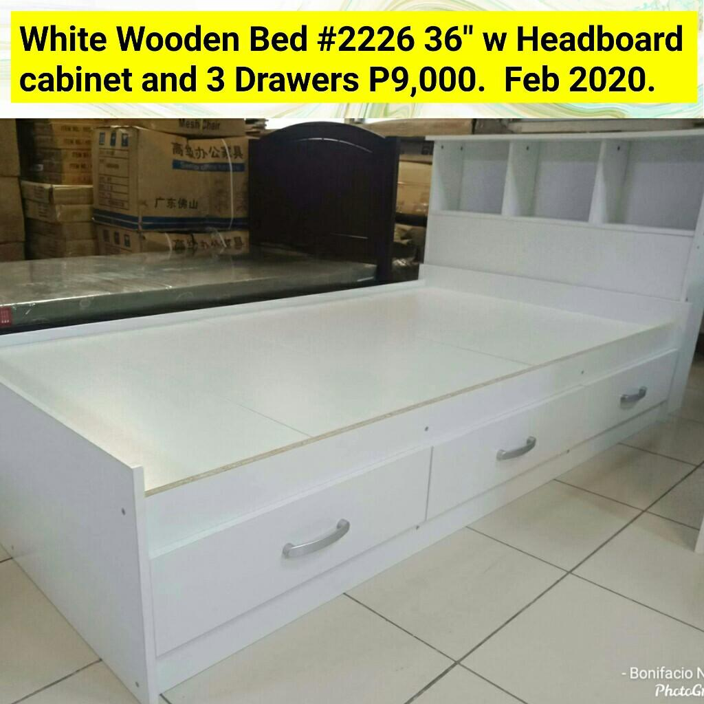 White Wooden Bed Frame 36 Headboard