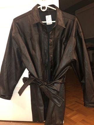 Size L Black Midi Leather Jacket with Waist Tie from M Boutique