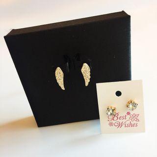 |輕時尚質感選品|天使翅膀+閃鑽耳釘耳環組