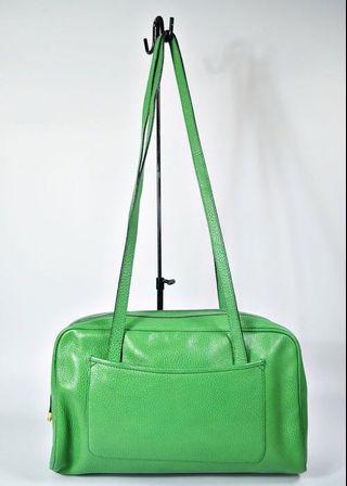 二手真品 Bally稀有全皮蘋果綠手提包/肩背包/波士頓包
