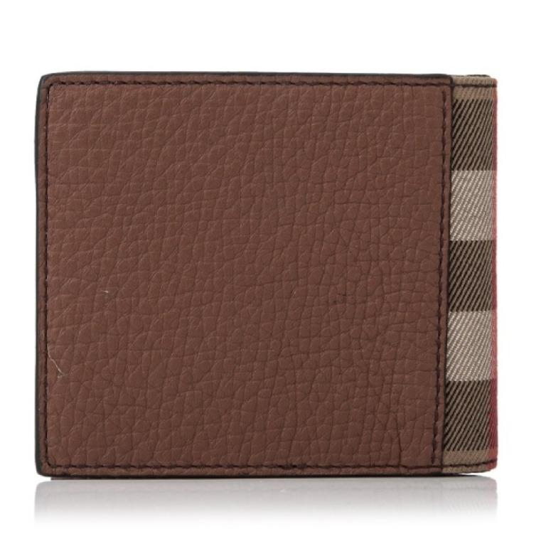 BURBERRY GRAINY LEATHER HOUSE CHECK REGULAR 8 CREDIT CARD BILLFOLD WALLET BROWN BURBERRY-40619951