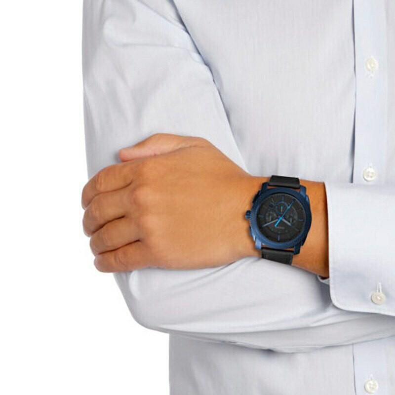 Fossil Watch Machine Chronograph Black Leather Watch 45mm FS5361 Original