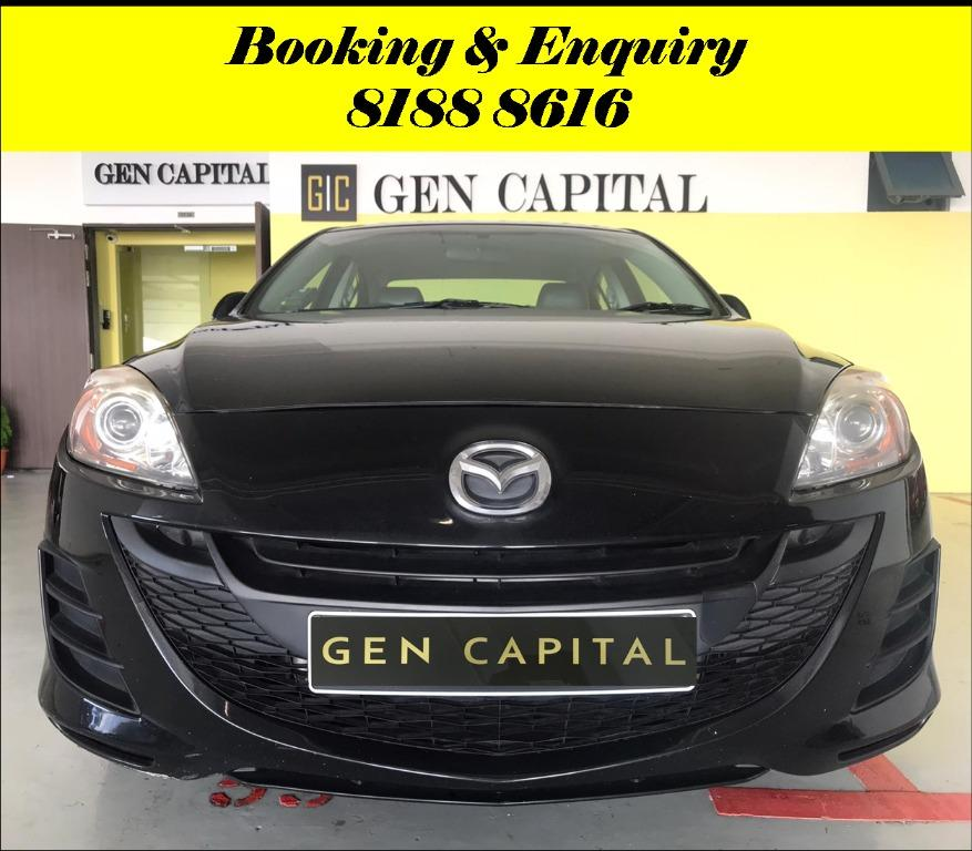 Mazda 3 Tuesday Promo with 2days free rentals!! Super Fuel efficient & Spacious. Cheapest rental in town with just $500 Deposit driveoff immediately. Whatsapp 8188 8616 now to reserve!