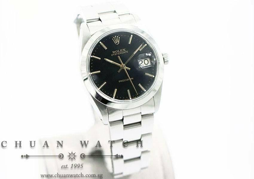 Pre-Owned Rolex Vintage Oysterdate Precision 34mm 6694 Black Index (Reconditioned) - Discontinued