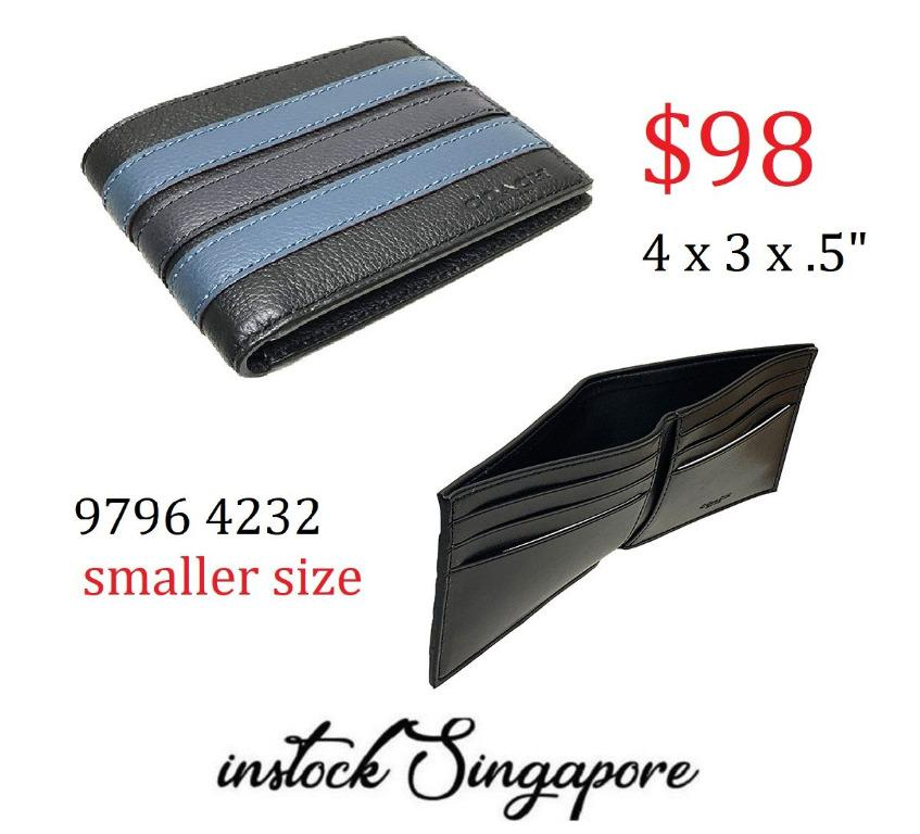 READY STOCK authentic new $98 Coach SLIM BILLFOLD WALLET IN SIGNATURE CANVAS WITH VARSITY STRIPE (COACH f26171)