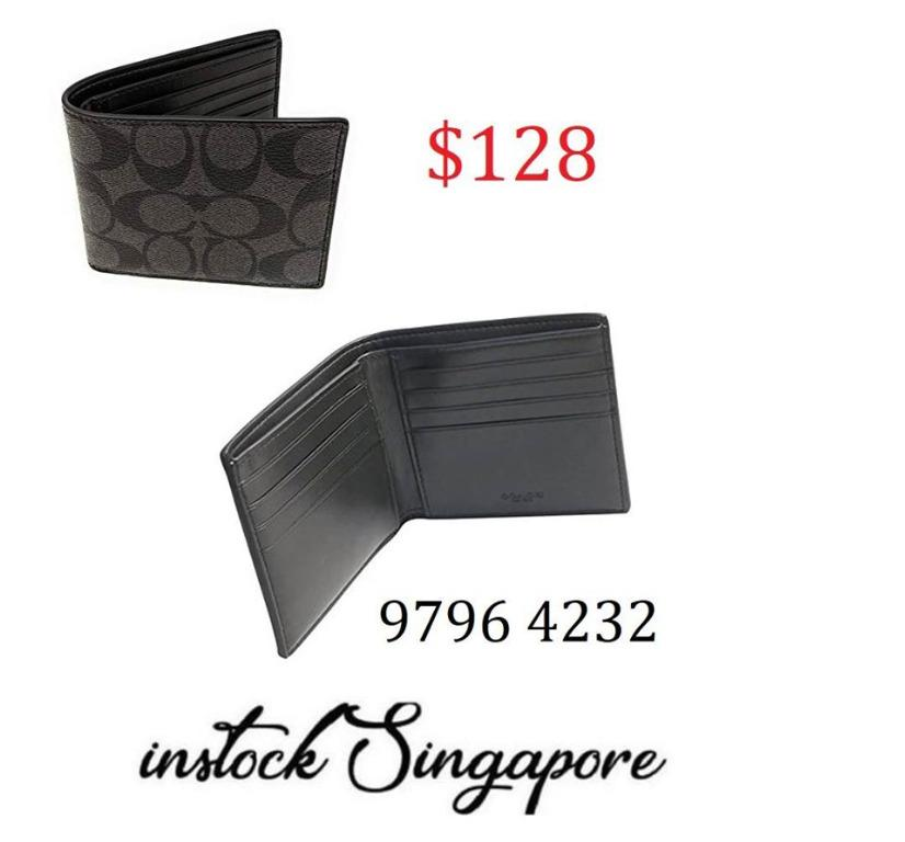 READY STOCK authentic new COACH Men's Signature Coated Canvas Double Billfold Bi-Fold WALLET Style: F75083, 75083