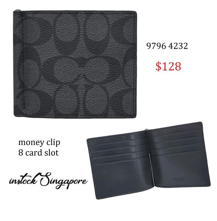 READY STOCK authentic new  Coach MONEY CLIP BILLFOLD IN SIGNATURE CANVAS (COACH F26106) CHARCOAL/BLACK