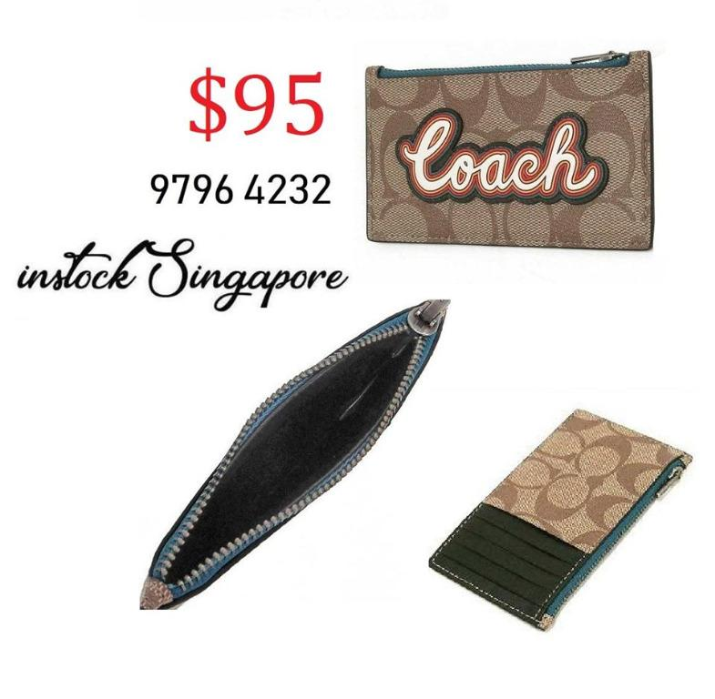READY STOCK authentic new COACH ZIP CARD CASE IN SIGNATURE CANVAS WITH COACH SCRIPT (COACH F76866)