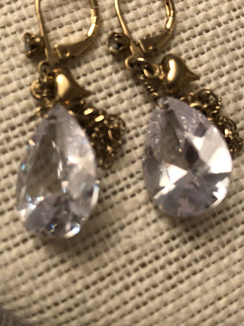 Vintage Gold plated large tear drop crystal earrings