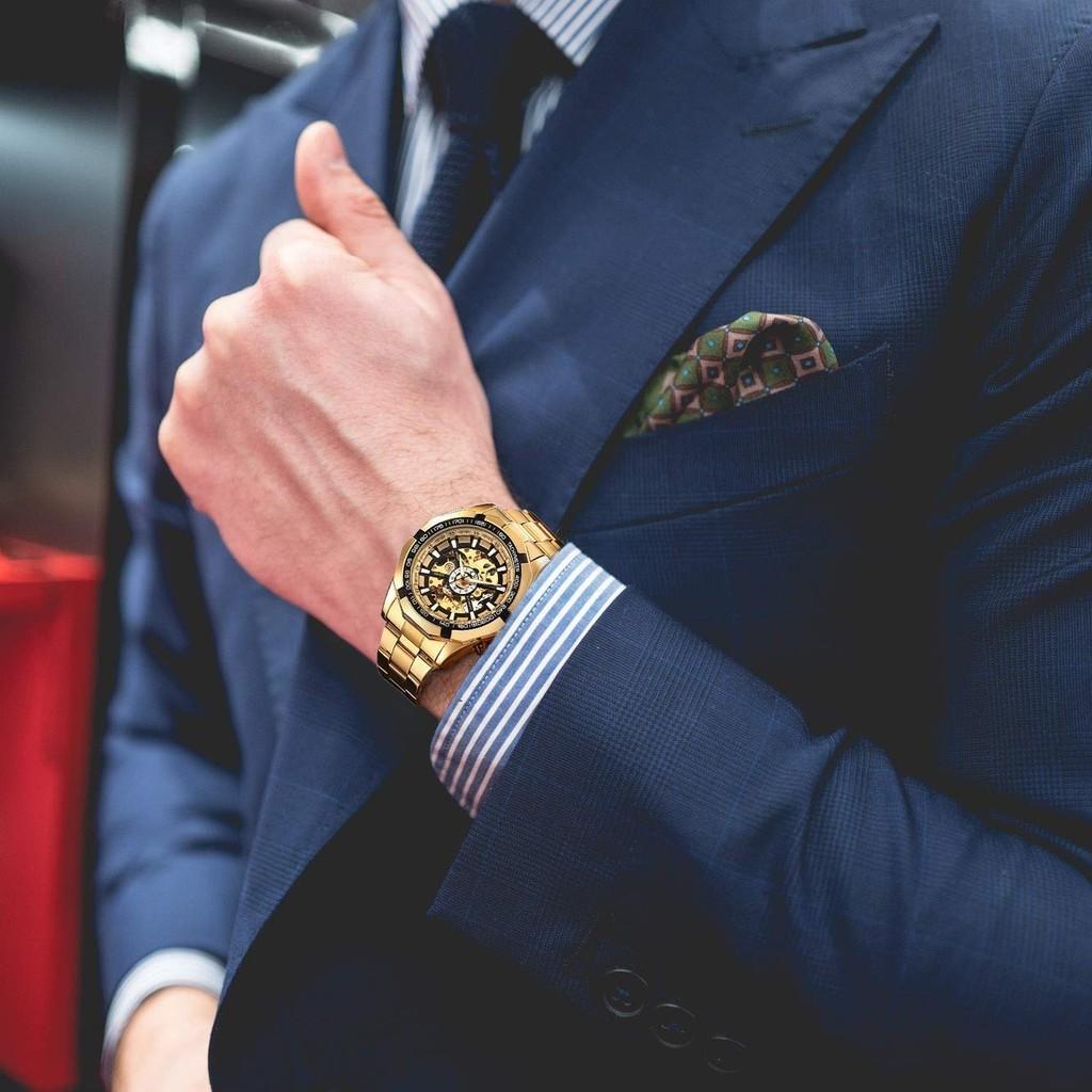 Winner Mens Business Genuine Stainless Steel Strap Mens Watch Top Brand Luxury Auotmatic Watches Jam Tangan Lelaki