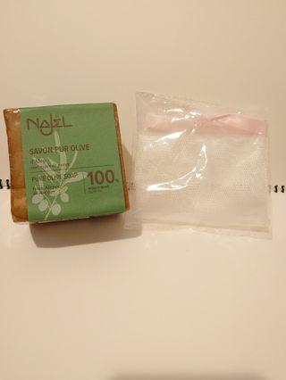 NAJEL 100%純橄欖油天然手工古皂200g(送起泡袋1個)