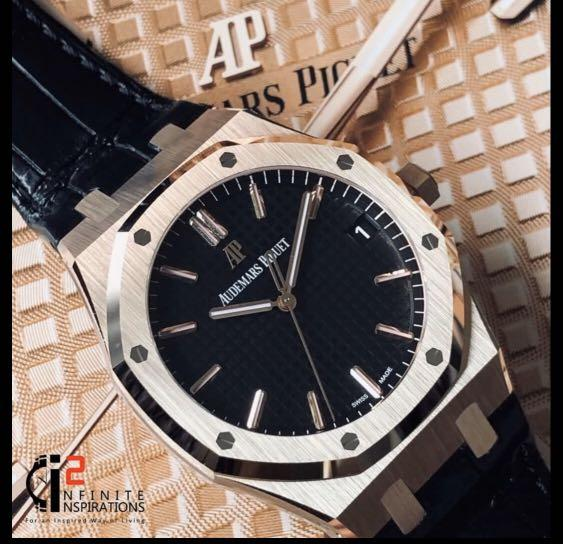 Audemars Piguet  AP 15500OR  Royal Oak 18 Carat Rose Gold 41mm in Black Dial - Unworn Complete Set with Box and Papers