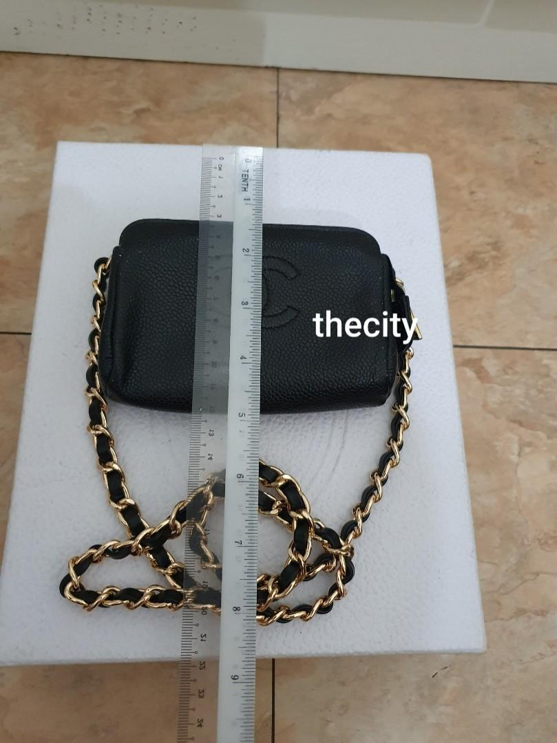 AUTHENTIC CHANEL BLACK CAVIAR LEATHER CC LOGO VANITY POUCH BAG - NEWLY RELINED INTERIOR- CAVIAR LEATHER IN GOOD CONDITION- WITH EXTRA ADD HOOKS & LONG CHAIN STRAP FOR CROSSBODY SLING