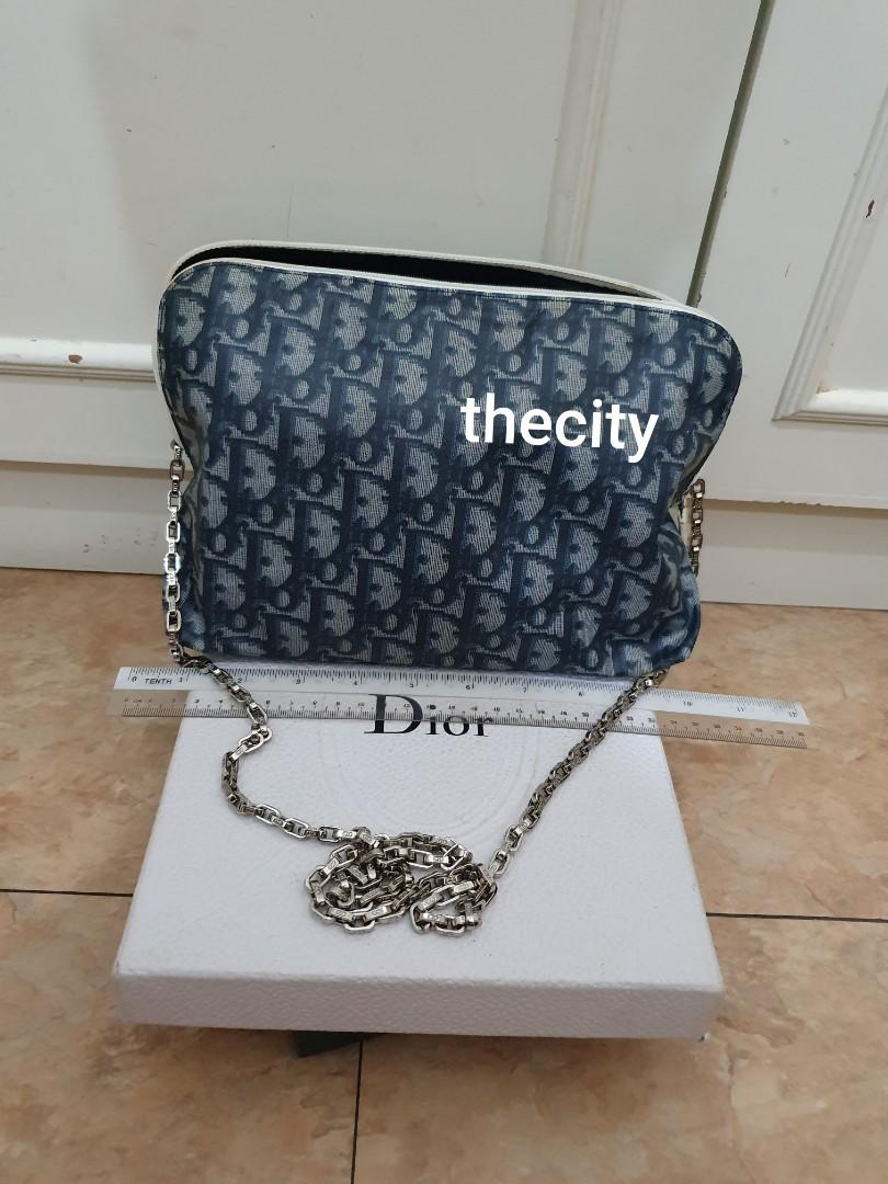 AUTHENTIC DIOR MONOGRAM LOGO DESIGN VANITY BAG - BLUE COLOR- SILVER HARDWARE - CLEAN INTERIOR, KEPT UNUSED - COMES WITH EXTRA ADD HOOKS & DIOR STRAP FOR CROSSBODY SLING -