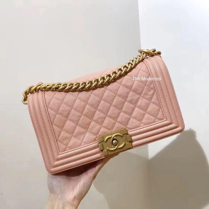 Authentic Pre-loved Chanel Medium Boy Bag Pink Caviar Leather Gold Hardware