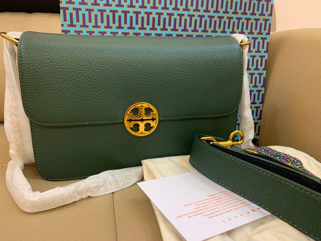 Authentic Tory Burch chelsea women sling bag crossbody handbag with dual strap Norwood green colour