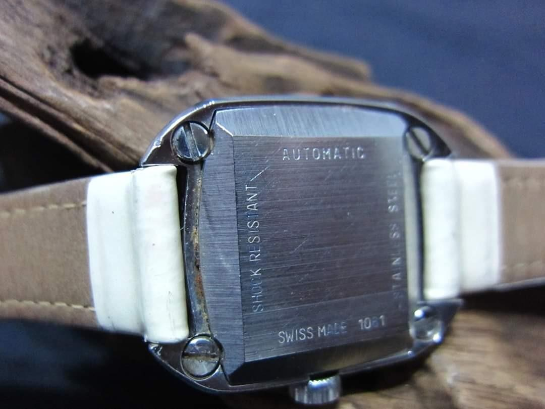 Bucherer SS AT Date black dial 20mm Square Ladies Hirsch strap Swiss Made