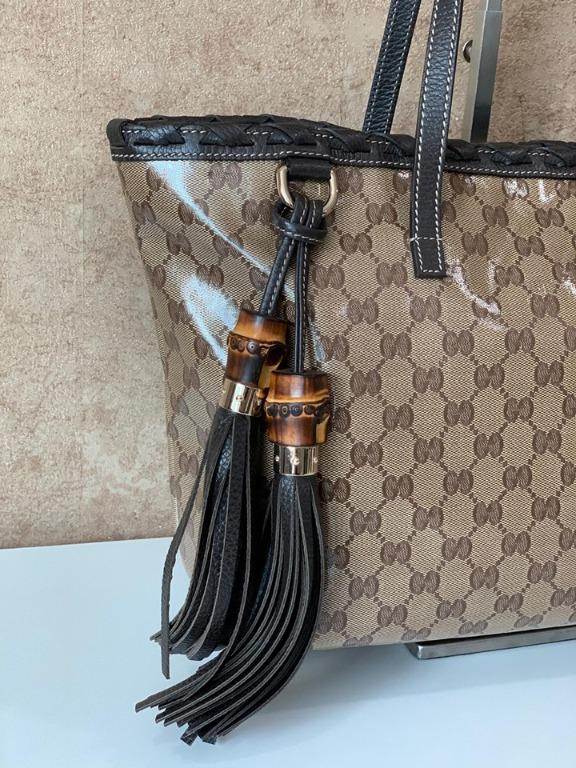 GUCCI 354665 GG LOGO COATED CANVAS AND BROWN LEATHER BAMBOO TASSEL TOTE BAG