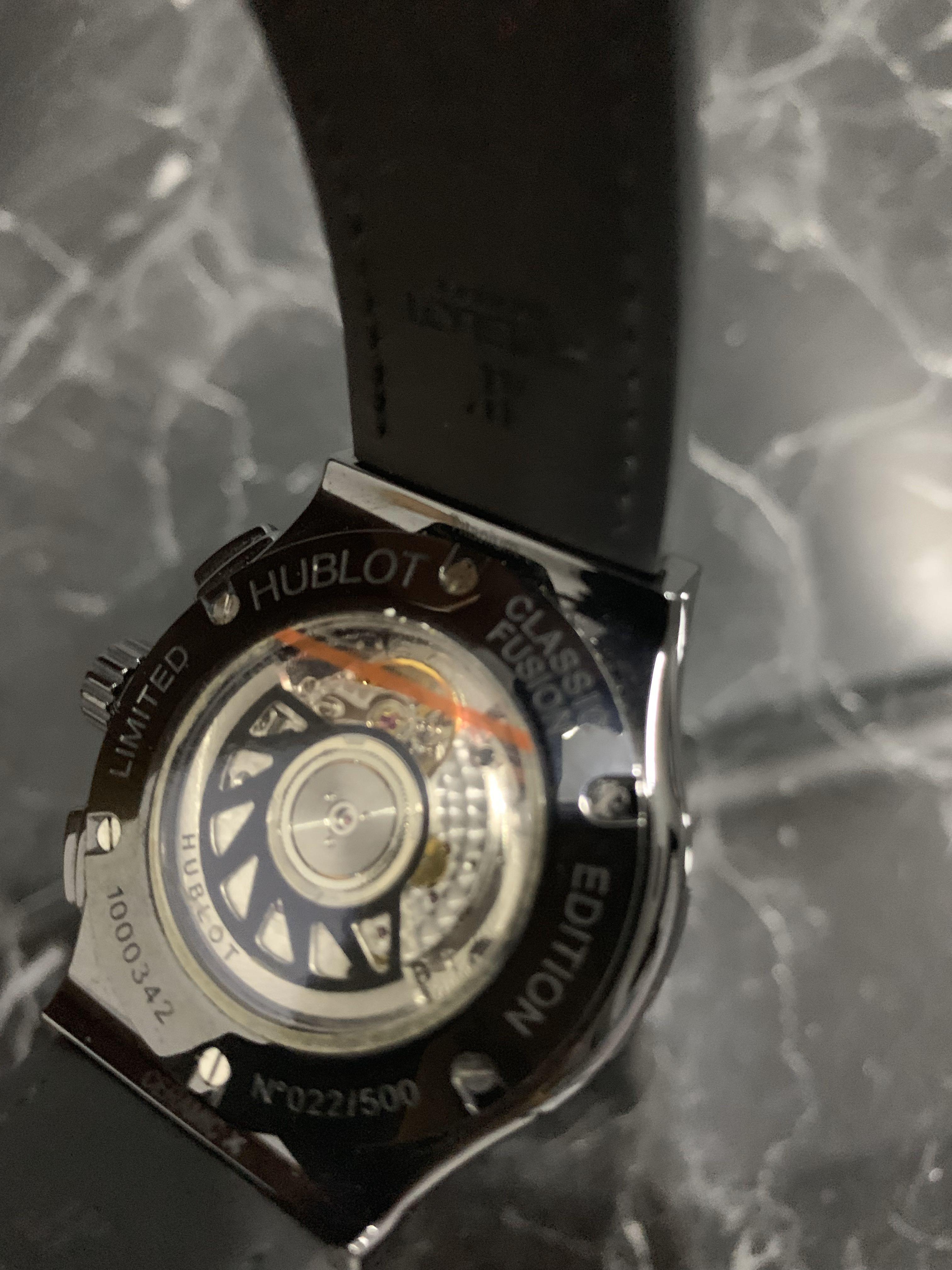 "Hublot ""All Black"" Classic Fusion Chronograph 42mm ***FREE Hublot original alligator black leather strap plus top quality rubber strap."