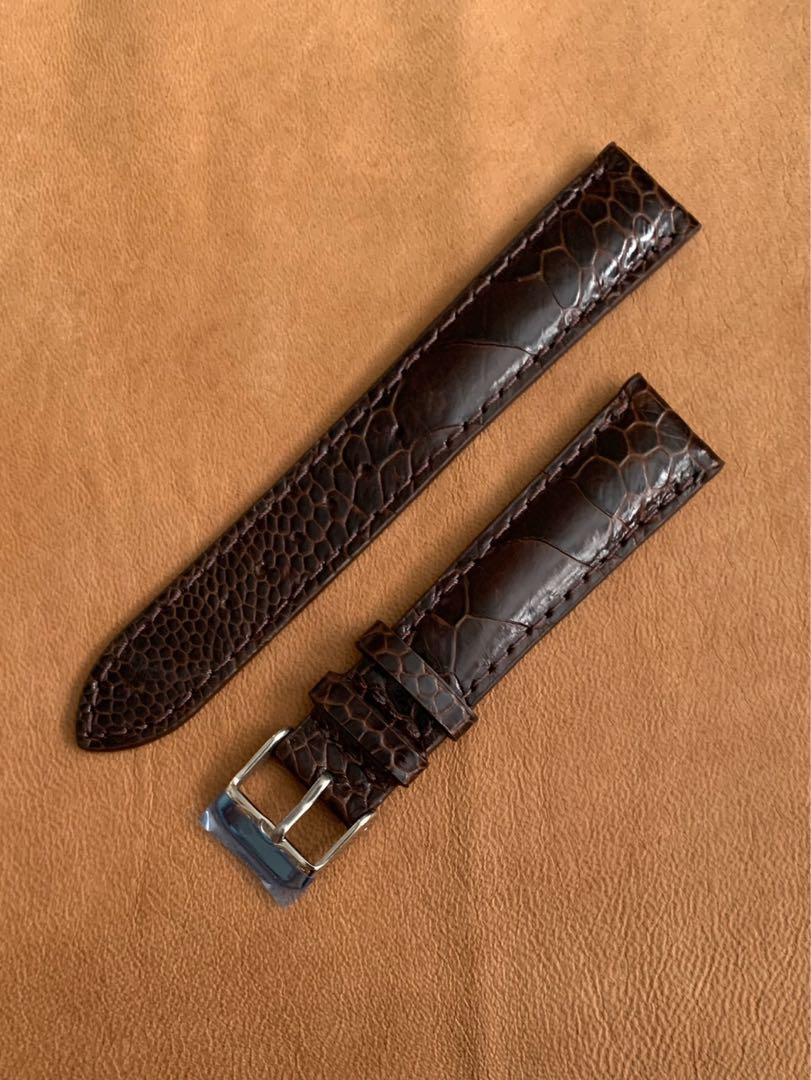 18mm/16mm Dark Brown Ostrich Leg Watch Strap (unique and beautiful grains - 1 piece only once sold no more 👍🏻😊) 18mm@lug/16mm@buckle  18mm/16mm     Standard length:L-120mm,S-75mm
