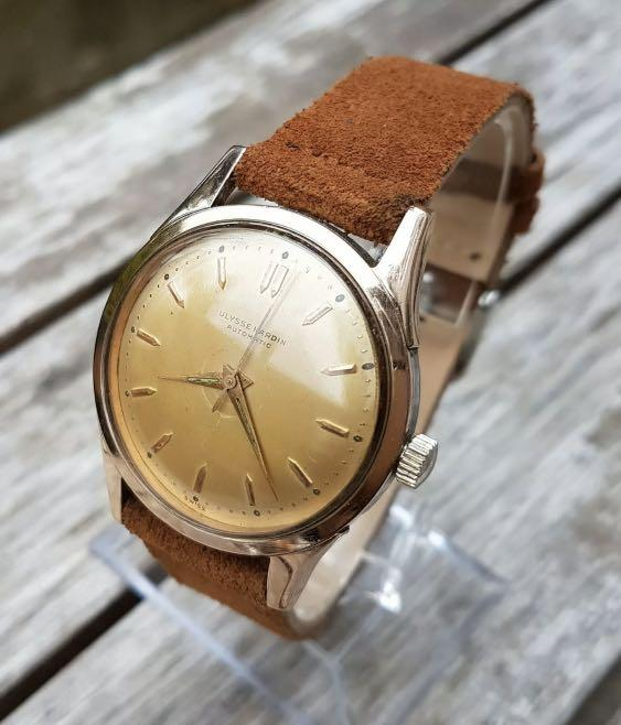 [SOLD] Authentic Ulysse Nardin Rose Gold Plated Lugs Stainless  Steel sides 36mm diameter Champagne Dial with box (with original UN box, leather pouch, cloth, tool,5 expensive straps, 2 RG buckle) 43mm lug-to-lug